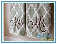 Mr Mrs Script Embroidery Design