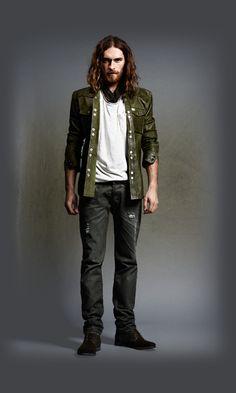 Diesel - Men's Apparel - Male Green Leather Jacket, jeans, shoes