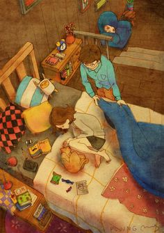 "Artist ""Puuung""  - Love is in Small Things: captures those little moments that make love whole in these heartwarming illustrations."