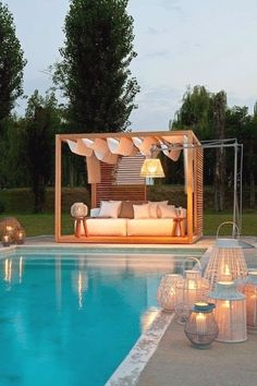 Outdoor Areas: Romantic backyard with pool Outdoor Areas, Outdoor Rooms, Outdoor Living, Outdoor Decor, Romantic Backyard, Pool Landscape Design, Outdoor Pavilion, Dream Pools, Cool Pools