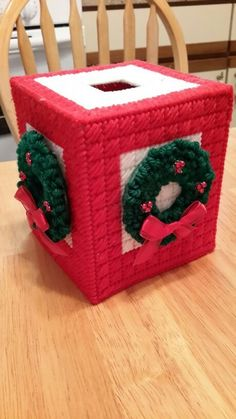 "Hand-made plastic canvas Christmas tissue box. 5 "" � 5 "" � 6 "" measurement. Great for decoration or as gift!"