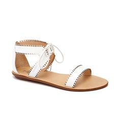 "Brides.com: . ""Sofia"" white ankle-tie leather sandal, $98, Loeffler Randall"
