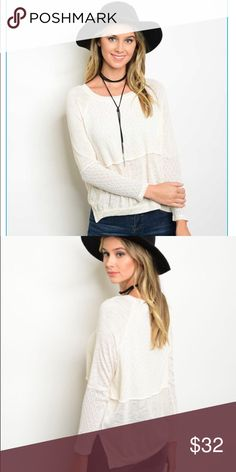 🆕 Cream Knit Top Perfect fall top! Incredibly soft and a light layering piece. 50% Polyester, 50% Rayon. Available in sizes Small, Medium and Large. Sweaters Crew & Scoop Necks