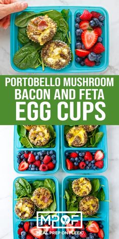 Portobello Mushroom Bacon and Feta Egg Cups - Meal Prep on Fleek™ These oven-baked meaty egg cups are full of protein and a dose of Vitamin-D rich mushrooms to start your day off right! Egg Recipes, Lunch Recipes, Dinner Recipes, Healthy Recipes, Eat Healthy, Feta, Baked Egg Cups, Bacon Cups, Portobello Mushroom Recipes