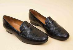 90s Vtg RALPH LAUREN Black Genuine Leather Penny Loafer Slip