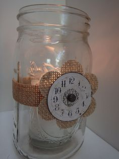 6 Burlap Mason Jar Candle Centerpiece Wedding Party Graduation Decorations M31 in Centerpieces & Table Decor | eBay