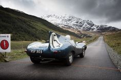 D-type heads toward snow-covered mountains in Scottish test drive before Mille Miglia | Jaguar Heritage photos