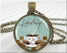LOVE at 1st Sip !   LOVE my OG coffee!  Cut little necklace! Http://www.katiek.myorganogold.com Coffee Art Pendant Coffee Jewelry Resin by MGArtisanPendants, $12.95