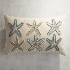 Our whimsical starfish pillow brings beach vibes to your sofa, chair or bed whether you're seaside or landlocked. Rug Hooking Patterns, Needlepoint Patterns, Free Motion Embroidery, Beaded Embroidery, Beaded Starfish, Cushion Embroidery, Nautical Bedding, Pillow Texture, Reno