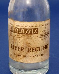 An old french pharmacy bottle which contained  Ether  Rectifier