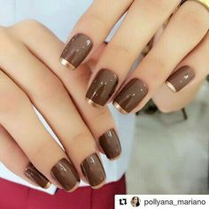 With Choco-licious from Poparazzi & Go for Gold from Sally Stylish Nails, Trendy Nails, Uñas Color Cafe, Nail Deco, Glamour Nails, Nail Polish Art, Colorful Nail Designs, French Tip Nails, Beautiful Nail Art
