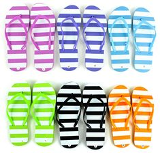 a7861d12a Women s Stripe Flip Flops come in an assortment of 6 colors and assorted  sizes. These flip flops come in an assortment of small (fits shoe sizes  medium ...