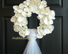 wedding wreath rustic antique magnolia spring wreath front door decor burlap bow, home living, decor housewares, outdoor front door wreaths bridal shower decor  Charm of peonies. This listing is for wedding/bridal shower wreath. The perfect front door or wall decor, wedding decorations. A great gift for Wedding, Birthday , Mom...  This arrangement is made with artificial white and ivory peonies grapevine wreath, it is finish with ivory bow and veil for a perfect finishing touch.  SIZE: 17-18…