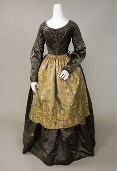 PEWTER GREY SILK SATIN DRESS, 1840s