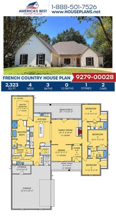 Plan 9279-00028 details a French Country home with 2,323 sq. ft., 4 bedrooms, 3 bathrooms, a kitchen island, an open floor plan, and a 2 car garage. #frenchcountry #europeanstyle #architecture #houseplans #housedesign #homedesign #homedesigns #architecturalplans #newconstruction #floorplans #dreamhome #dreamhouseplans #abhouseplans #besthouseplans #newhome #newhouse #homesweethome #buildingahome #buildahome #residentialplans #residentialhome Ranch Style Floor Plans, Open Floor House Plans, Porch House Plans, Dream House Plans, Small Modern House Plans, Modern Floor Plans, Farmhouse Floor Plans, Home Design Floor Plans, House Plans Australia