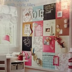Use cork board squares and cover some with scrapbook paper, magnetic paint, and chalkboard paint. Great for a sewing room inspiration wall! My New Room, My Room, Dorm Room, Home Projects, Home Crafts, Magnetic Paint, Diy Casa, Ideas Para Organizar, Home And Deco