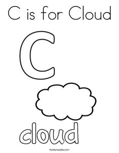 C is for Cloud Coloring Page from TwistyNoodle.com