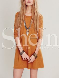 robe casual col rond -Jaune -French SheIn(Sheinside)
