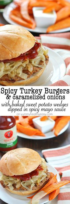 Get ready for the most flavorful spicy turkey burgers with a slathering of caramelized onions on top! Serve with a side of oven baked sweet potato fries (wedges) dipped in a spicy mayo sauce - absolut (Baking Sweet Wedges) Lunch Recipes, Cooking Recipes, Recipes Dinner, Summer Recipes, Dinner Ideas, Spicy Turkey Burgers, Mayo Sauce, Fried Potatoes, Wrap Sandwiches