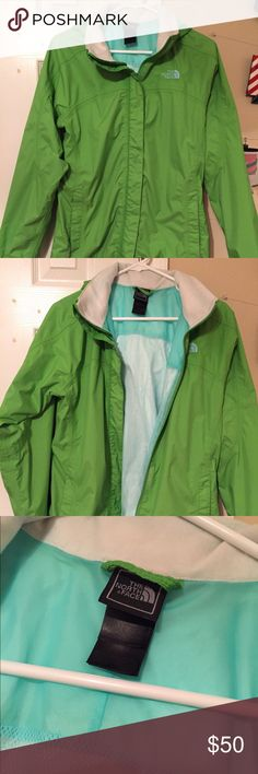 North Face Rain Jacket North Face Rain Jacket. Girls XL, but is big on me and I'm a Women's Small. So could definitely fit a Women's M-L. It has a mesh lining on the inside, warmer than just the regular rain coat. Hood can be rolled up and tucked away. EUC. Asking $50 *cross posted* North Face Jackets & Coats