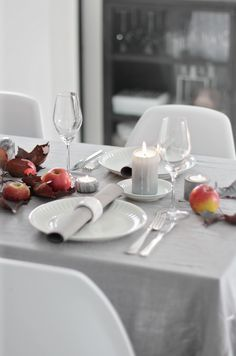 Table setting for fall -  love the grey