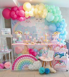 Rainbow Party Decorations, Diy Birthday Decorations, Birthday Party Themes, Baby 1st Birthday, Rainbow Birthday, Unicorn Birthday, Rainbow Candy Bars, Llama Decor, St Patricks Day Crafts For Kids