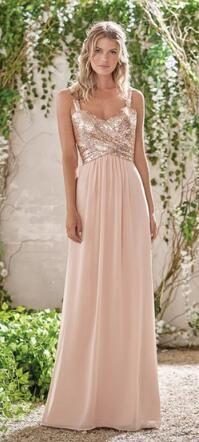 Elegant A-line Rose Gold Long Bridesmaid Dress Wedding Party Dress 14f765601dcd