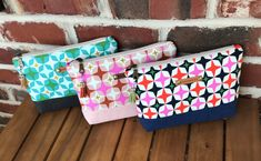 Playful makeup pouches, essential pouches, sotak handmade, makeup bag Makeup Pouch, Makeup Bags, Zipper Bags, Zipper Pouch, Pouch Pattern, Premier Prints, Stationery Items, Handmade Tags, Bag Patterns