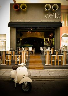 Cello #shop #restaurant #cafe Front Elevation Designs, Shop Facade, Interior Design Images, Cafe Bar, Cafe Shop, Shop Fronts, Restaurant Design, Cafe Restaurant, Restaurant Ideas