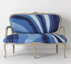 Settees could be very stuffy, but the fabric, which I am in love with, makes it youthful and fun.