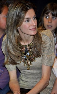 Princess Letizia of Spain: bejeweled shirt. *my royal icon