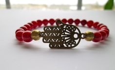 #red #Coral Bamboo and Brass #Hamsa Bracelet by STUDIOMUCCIjewelry,