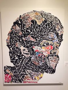 An incredible image & sculpture of Gil Scott Heron. Made from album covers & vinyl records. The artist is, Lobyn Hamilton of Indianapolis, IN.
