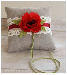 Making this for my Gigi's wedding in ivory. Minus the flower and substituting a vintage button! Rustic Ring Bearers, Rustic Pillows, Ring Pillow Wedding, Wedding Linens, Silk Flowers, Pouches, Arms, Ivory, Valentines