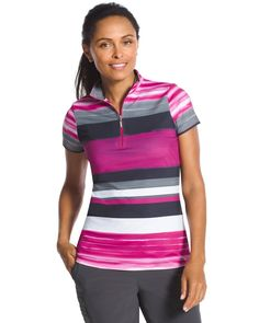Chico's Women's Zenergy Golf Pink-Striped Polo