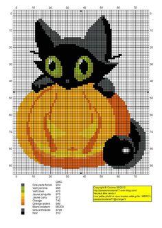 Free Halloween Cross Stitch Patterns   awww kitty pumpkin cross stitch