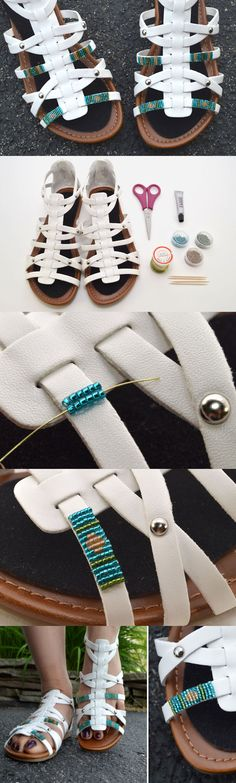 So cute! Upgrade a pair of plain sandals into super trendy summer sandals with this embellishment trick!