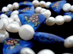 Sterling Silver Pearl Enamel Flower Porcelain Triangle Bead Necklace 925 Vintage   eBay