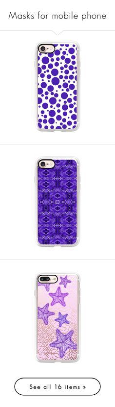 """""""Masks for mobile phone"""" by mimi-k-685 ❤ liked on Polyvore featuring accessories, tech accessories, iphone case, polka dot iphone case, slim iphone case, iphone cover case, iphone cases, purple iphone case, apple iphone case and android case"""