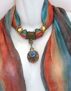 Scarves With Jewelry Pendant Scarfs Colorful Scarves Ombre