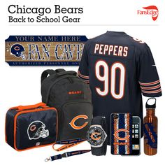 Chicago Bears Fans Pin It to Win It All! You can win a complete back to school NFL prize pack worth over 300 dollars! To enter, pin your favorite NFL Team's Back to School image to win every item in the collage! #FansEdge –Visit http://www.fansedge.com/promotions.aspx?social=pinterest_nfl_pintowin to enter