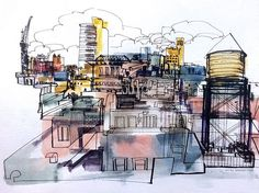 A view of Manhattan rooftops from a midtown hotel, New Years Day 2017.  I'm documenting the five boroughs of NYC with reportage drawings and this art is part of the series.  Art by Jedidiah Dore pen and ink, watercolor 12 x 18 inches  #nyc #travel #colorful #manhattan #urbansketchers #newyorkcity #draw #inkdrawing #linedrawing #illustration #sketch #sketchbook #instadraw #art #artwork #watercolor #instaart #sketching #design #urbansketch #drawing #newyork #watercolour #instagood…
