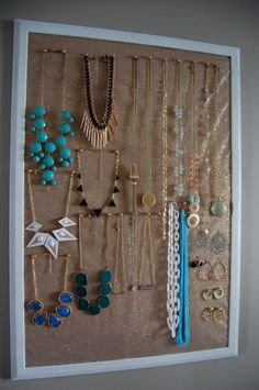 DIY NECKLACE HOLDER- something similar but smaller and hanging landscape rather than portrait.
