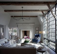 Interior Design Ideas Benjamin Moore, Family Rooms, Living Rooms, Living Room With Fireplace, Living Spaces, Living Area, Transitional Lighting, Transitional House, Fireplace Gallery