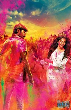 Dhanush and Sonam Kapoor in Raanjhanna holi Wallpaper Poster - Raanjhanaa star Dhanush wins everyone over