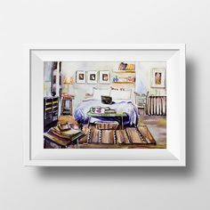 Wall Art Watercolor Carrie Bradshaw Bedroom Print,Sex and the City,Carrie Bradshaw Apartment,Tv Show Poster,Carrie Bradshaw Printable