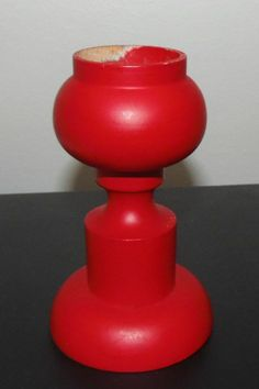 Vintage Aarikka Finland Hand Turned Wooden Candle Holder - Red