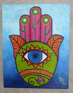 Hey, I found this really awesome Etsy listing at https://www.etsy.com/listing/174423026/hamsa-painting-green-pink-acrylic