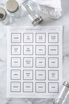 Print off these free clean and simple spice jar labels and organize the spices in your kitchen.  |  www.andersonandgrant.com
