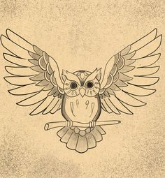 Owl Art Print by Niklas Bates. All prints are professionally printed, packaged, and shipped within 3 - 4 business days. Choose from multiple sizes and hundreds of frame and mat options. Owl Tattoo Drawings, Bird Drawings, Cute Drawings, Tattoo Owl, Owl Outline, Owl Wings, Wings Drawing, Owl Tattoo Design, Owl Print